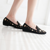 Women's synthetic suede black square toe Loafer Shoes