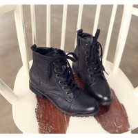 Women's Black Leather Low Heel Ankle Boots