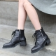 Women's synthetic leather round toe med chunky combat sole walker