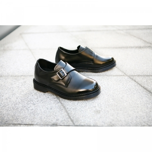 Black Velcro Monk Strap increase height shoes