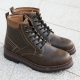 Hexagon Eyelet Combat Ankle Boots brown