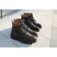Hexagon Eyelet Combat Ankle Boots