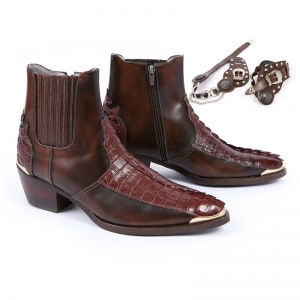 genuine crocodile leather western boots brown color