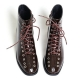 Women's synthetic leather round toe eyelets lace ups ankle brown