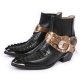 Belt Strap Black Crocodile Leather Western Boots