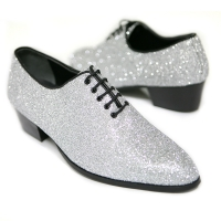 Men's pointed toe glitter silver synthetic leather closed lacing high heels oxfords