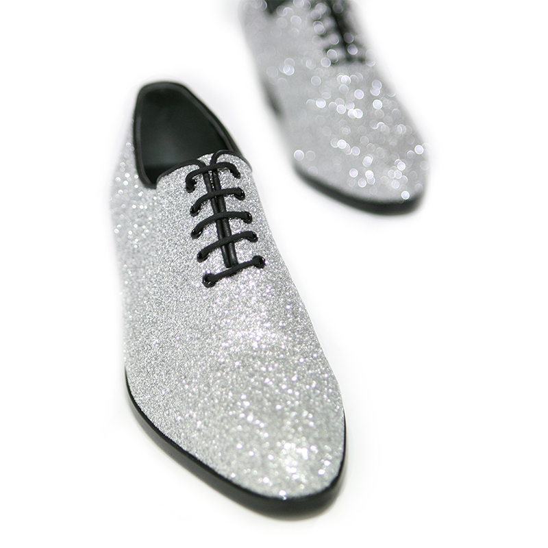 Pointed Toe Glitter Silver High Heels Oxfords
