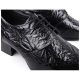Men's wing tips open lacing wrinkle leather high heels dress shoes black