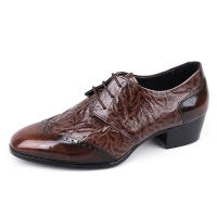 Men's wing tips open lacing wrinkle leather high heels dress shoes brown