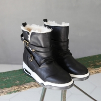 Women's synthetic leather inner fur buckle air comfort sole snow boots