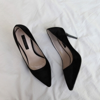 Women's synthetic suede pointed toe stiletto heels pumps black