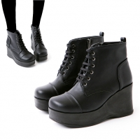 Women's Straight tip Thick Platform High Wedge Heel Ankle Boots