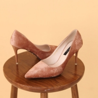 Women's synthetic suede pointed toe stiletto heels pumps brown