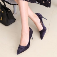 Women's synthetic suede pointed toe stiletto heels pumps blue