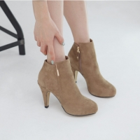Metallic Gold High Heel Brown Ankle Boots