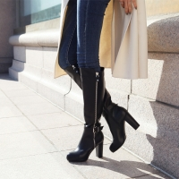 Women's Mid calf high heel long boots