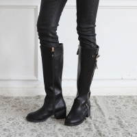 Round toe mid calf Med chunky heels long boots black