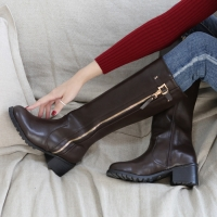 Round toe mid calf Med chunky heels long boots brown
