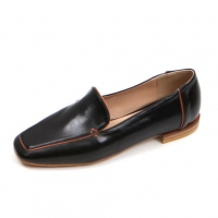Women's square toe flat loafer shoes