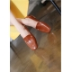 Women's brown square toe flat loafer shoes