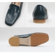 Women's green square toe flat loafer shoes