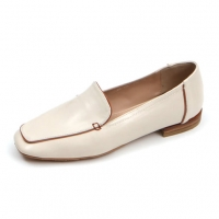 Women's beige square toe flat loafer shoes