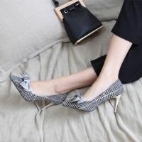 Women's fabric gray pointed toe stiletto high heels pumps