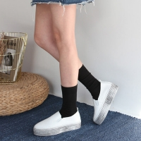 women's vintage thick platform leather slip on sneakers white