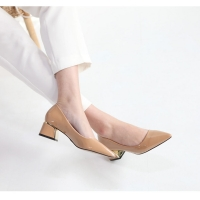 Glossy Beige Pointed Toe Pumps