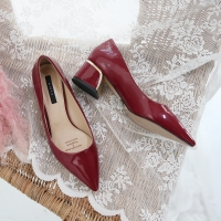 Glossy Wine Pointed Toe Pumps