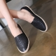women's vintage synthetic leather espadrille slip on weave sneakers