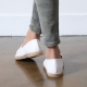 women's vintage synthetic leather espadrille slip on weave sneakers  white