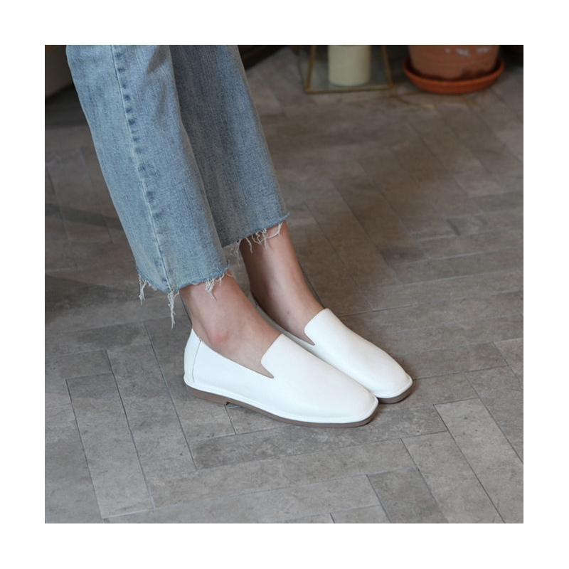 Women's white square toe flat loafer shoes