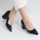 Pointed Toe Chunky Med Heel Pumps