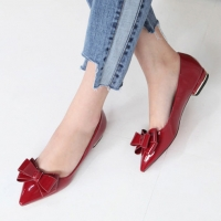 Glossy Wine Ribbon Pointy Toe Loafers Low Heel Shoes Pumps
