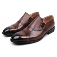 Men's Brown Leather Cap Toe Loafers Dress Shoes