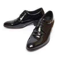 Wrinkle Black Cow Leather High Heel Oxford Shoes
