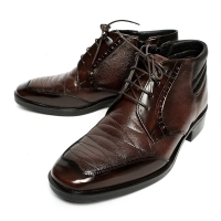 Men's Brown Square Toe Padding Entrance Ankle Boots