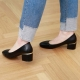 women's synthetic leather chunky med heels comfortable black pumps US5.5-US10