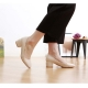 women's synthetic leather chunky med heels comfortable beige pumps US5.5-US10