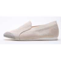 Women's Beige Fabric Two Tone Wedge Heel Loafer Sneakers Shoes US5 - US10