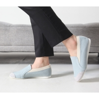Women's Sky Blue Fabric Two Tone Wedge Heel Loafer Sneakers Shoes US5 - US10
