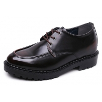 Men's Brown Increase Height Hidden insole Casual Oxford Elevator Shoes