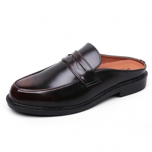 542b35ff2c5 Men s Brown Slip On Penny Loafer Mules Shoes