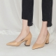 Pointed Toe Glossy Beige Chunky Med Heel Pumps