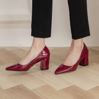 Pointed Toe Glossy Wine Chunky Med Heel Pumps