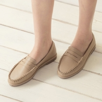 Women's Beige Loafers Moccasins Slip On Penny Shoes
