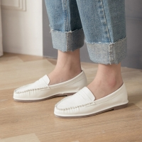 Women's White Loafers Moccasins Slip On Penny Shoes