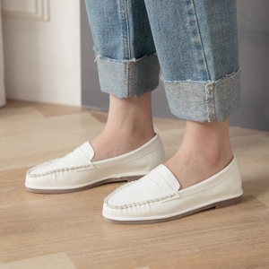 White Loafers Moccasins Slip On Penny Shoes
