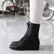 Women's Cap Toe Comfort Fit Eyelet Lace Up Side Zip Closure Low Heel Black Cow Leather Ankle Boots US5-US10